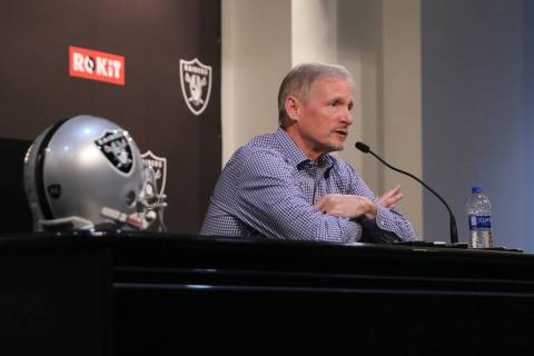 Oakland Raiders general manager Mike Mayock addresses the media during a news conference a ...