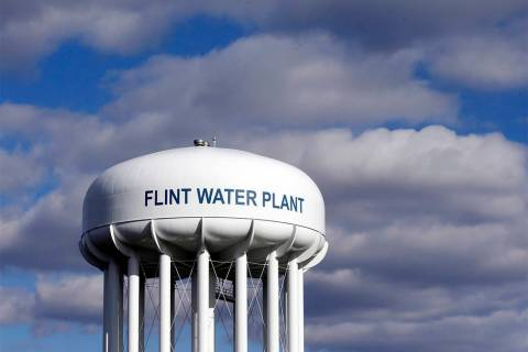 The Flint Water Plant water tower is seen in Flint, Michigan. (Carlos Osorio/AP)