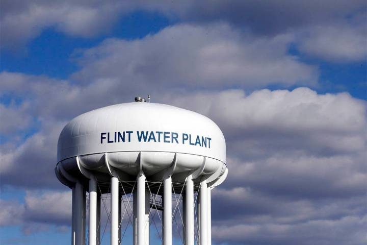 The Flint Water Plant water tower is seen in Flint, Michigan. (Carlos Osorio/AP)