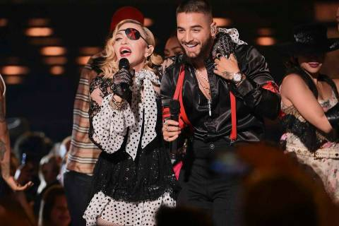 """Madonna, left, and Maluma perform """"Medellin'"""" at the Billboard Music Awards on Wednesday, May 1 ..."""