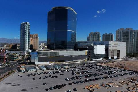 An aerial view of The Drew Las Vegas, formerly the Fontainebleau, as seen on Friday, March 22, ...