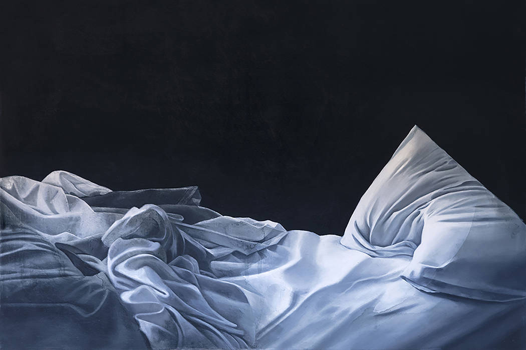 Stephanie Serpick's paintings of unmade beds and tossed sheets are on display in the exh ...