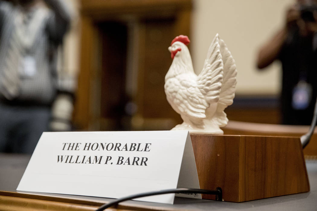 Rep. Steve Cohen, D-Tenn., placed a prop chicken on the witness desk for Attorney General Willi ...