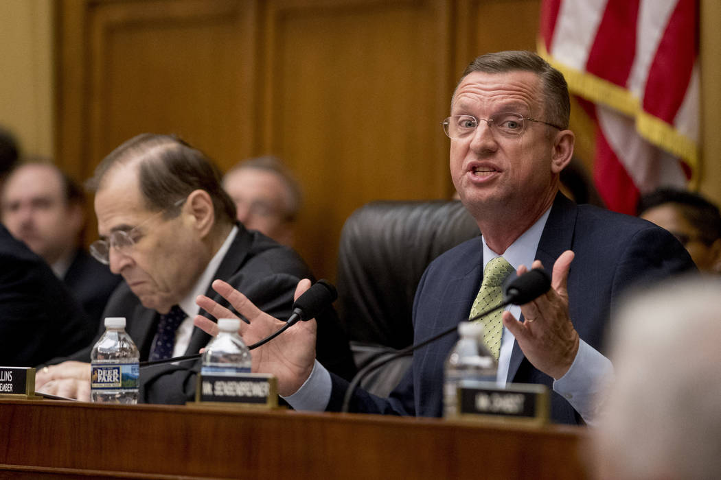 Ranking Member Rep. Doug Collins, R-Ga., right, accompanied by Judiciary Committee Chairman Jer ...