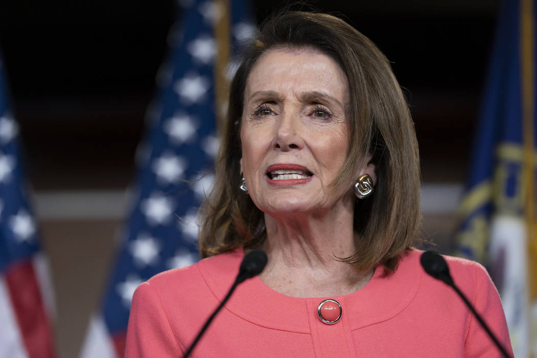 Speaker of the House Nancy Pelosi, D-Calif., speaks to the media at a news conference on Capito ...