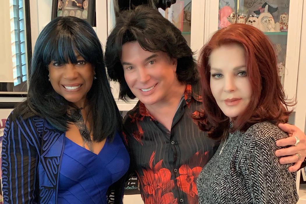 Mary Wilson, Frank Marino and Priscilla Presley are shown at Marino's Las Vegas home on Sunday, ...