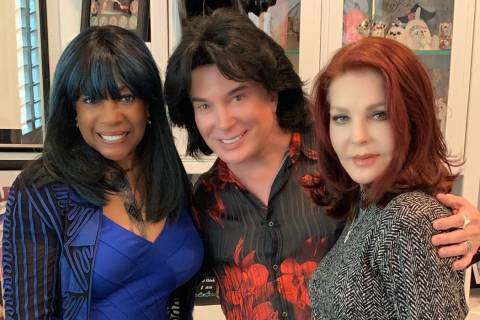 Mary Wilson, Frank Marino and Priscilla Presley are shown at Marino's Las Vegas home on Sunday, ...