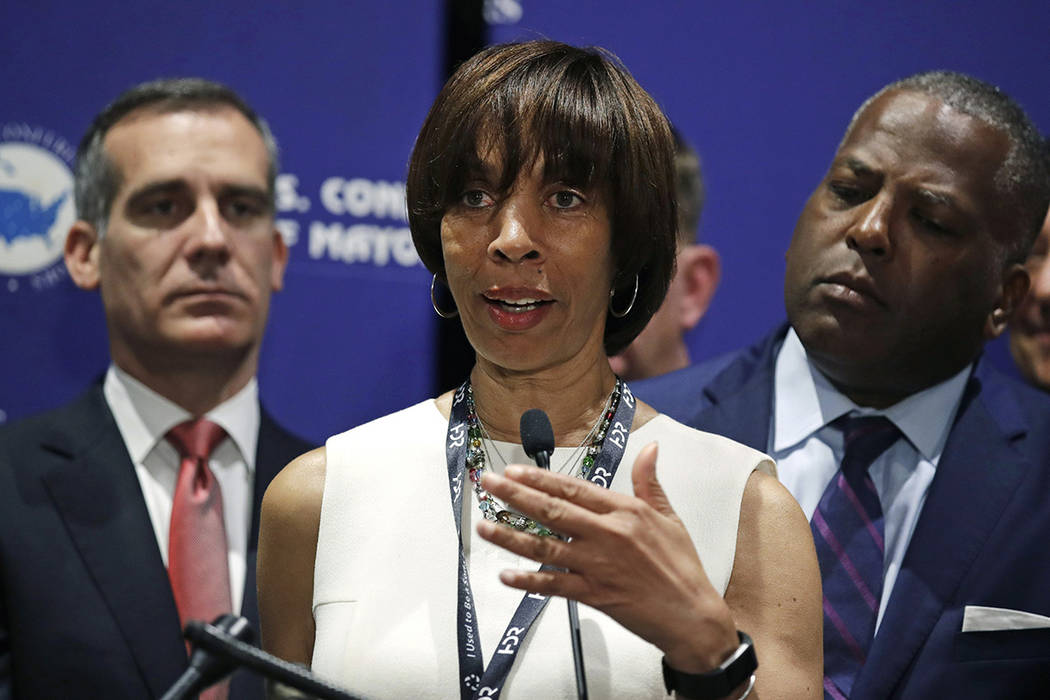 FILE - In this June 8, 2018 file photo, Baltimore Mayor Catherine Pugh addresses a gathering du ...