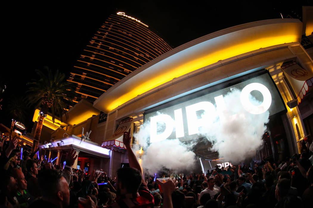 Diplo is shown performing at Encore Beach Club on Wednesday, May 1, 2019. (Danny Mahoney)