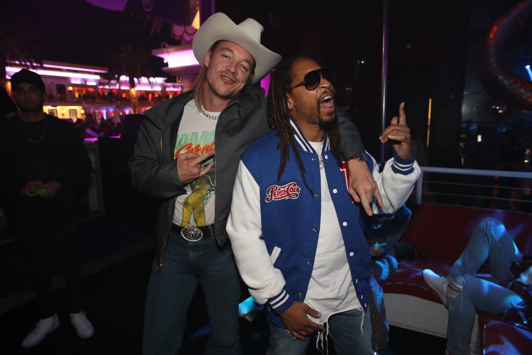 Diplo and Lil Jon are shown performing at Encore Beach Club on Wednesday, May 1, 2019. (Danny M ...