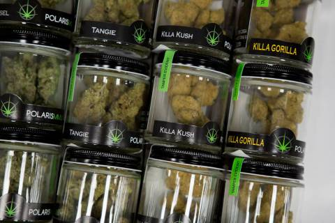 Marijuana products sit in a drawer at BLM Las Vegas Medical Marijuana Dispensary. (Bridget Benn ...