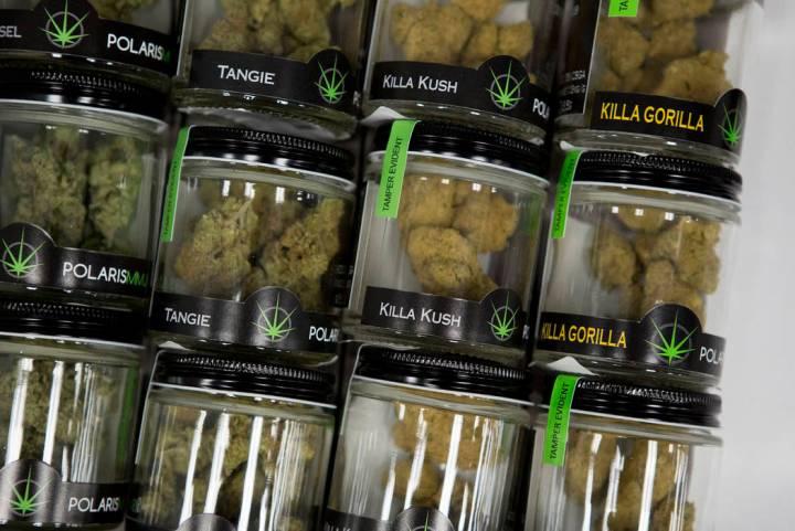 Marijuana products sit in a drawer at BLM Las Vegas Medical Marijuana Dispensary. (Bridget Benn ...