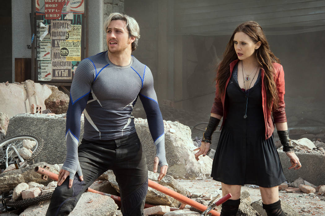 Marvel's Avengers: Age Of Ultron Quicksilver/Pietro Maximoff (Aaron Taylor-Johnson) and Scarle ...