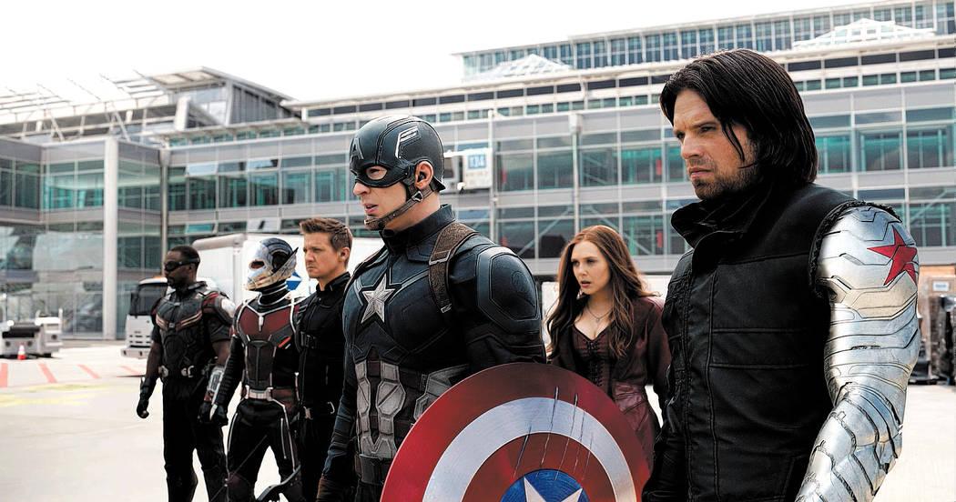 Marvel's Captain America: Civil War..L to R: Falcon/Sam Wilson (Anthony Mackie), Ant-Man/Scott ...