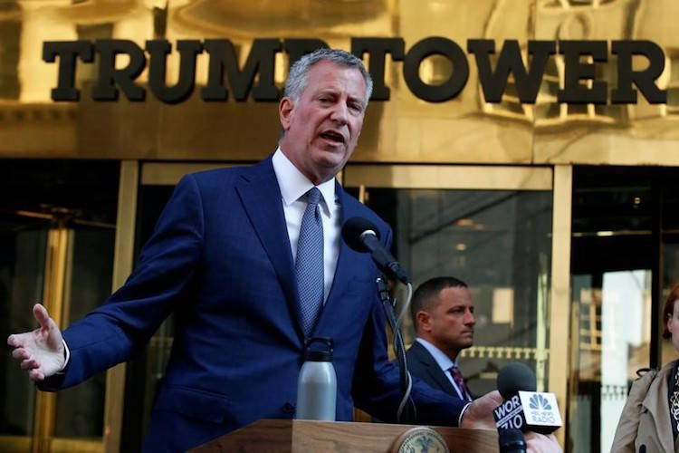 New York City Mayor Bill de Blasio speaks with the media after meeting with U.S. President-elec ...