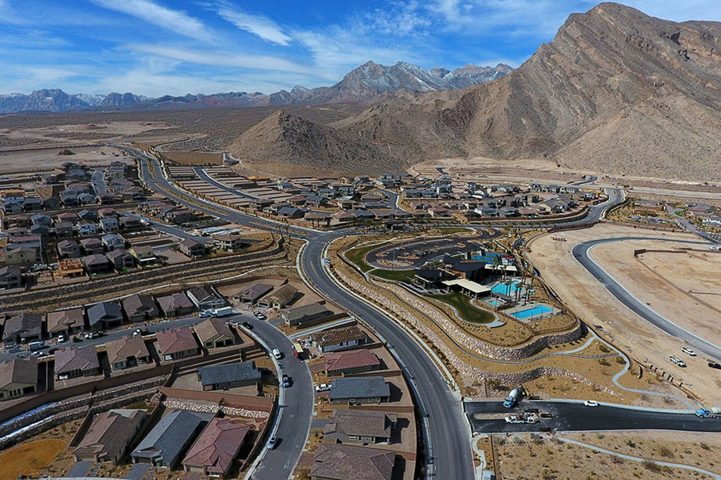 Aerial photo of the Reverence community by Pulte Homes in Summerlin, Nev. on Tuesday, February ...