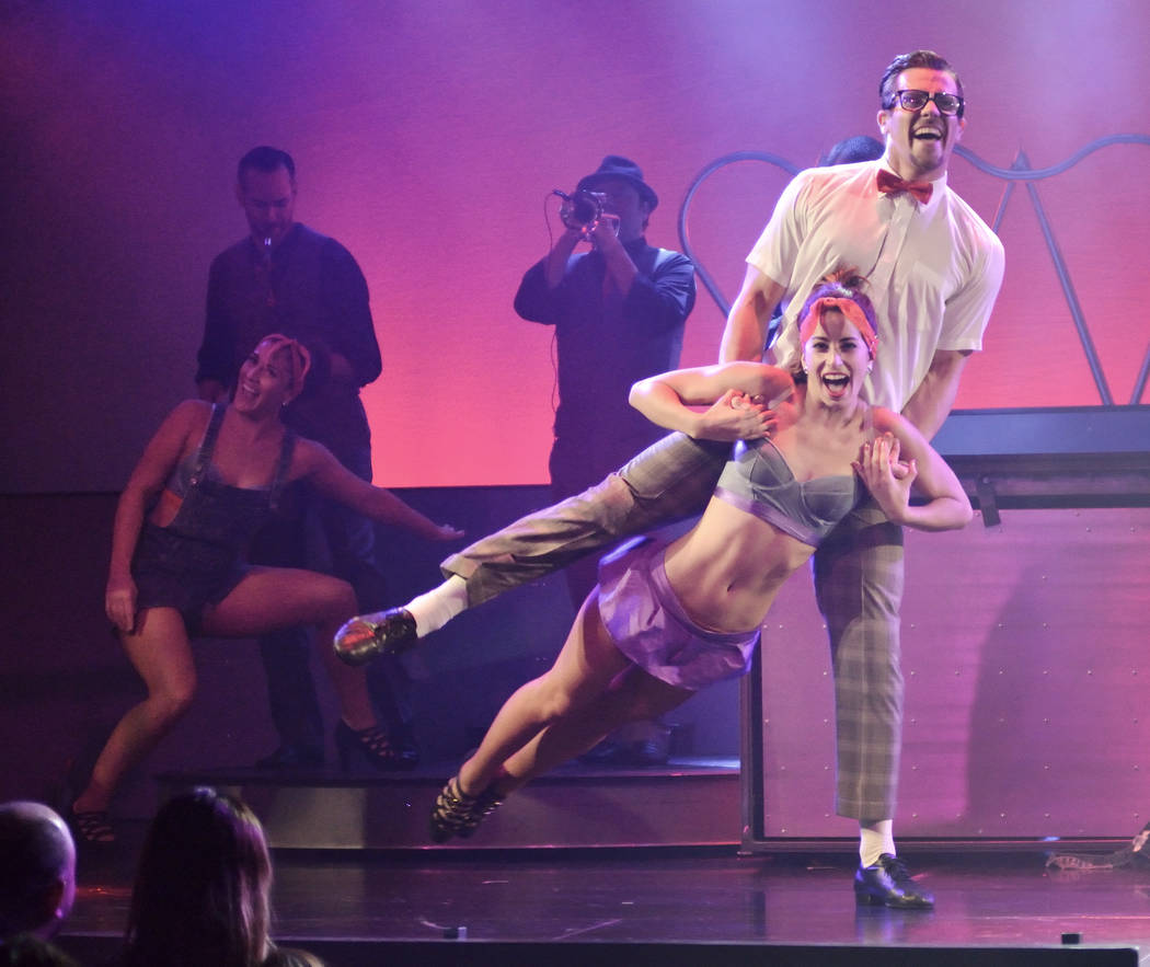 "Nadia Albulet performs with Ryan Kelsey during ""Pin Up"" at the Stratosphere at 2000 Las Vegas B ..."
