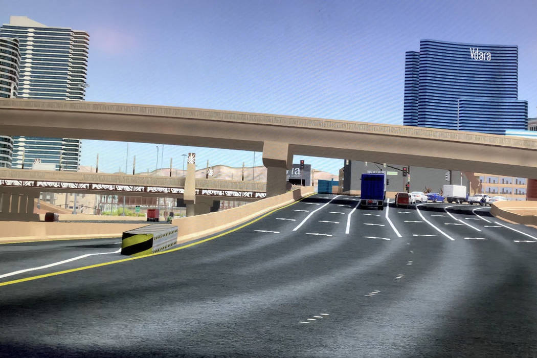 The Interstate 15 northbound offramp of the planned I-15/Tropicana Avenue interchange will feat ...