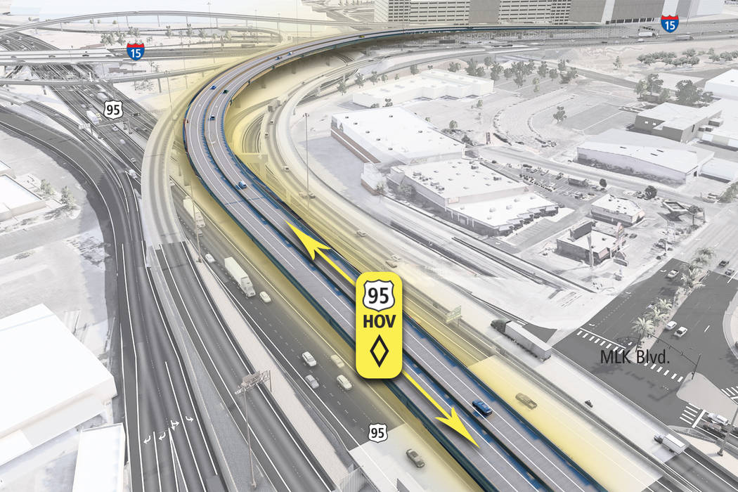 U.S. Highway 95 will be narrowed to two lanes so that crews can split the northbound and southb ...