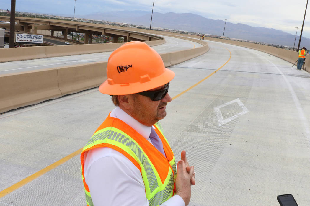 Tony Illia, Nevada Department of Transportation spokesman, addresses the media at the newly com ...