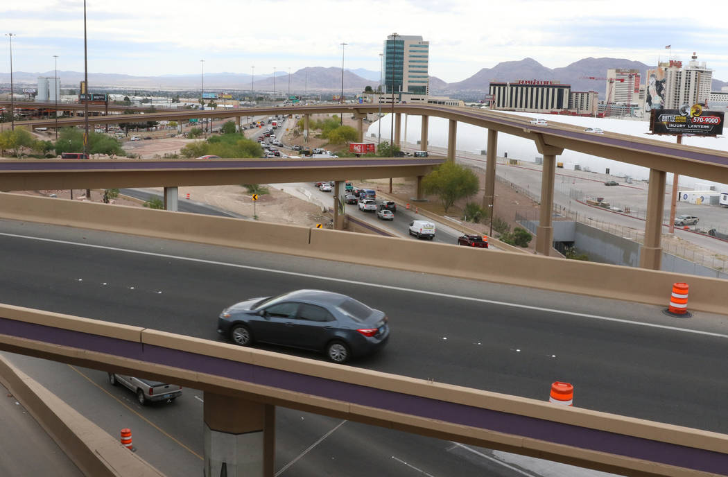 The Spaghetti Bowl is seen from the newly completed Project Neon HOV flyover ramp on Thursday, ...