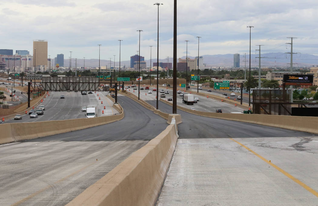 The newly completed Project Neon HOV flyover ramps in the Spaghetti Bowl are seen on Thursday, ...