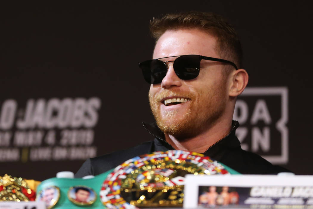 "Saul ""Canelo"" Alvarez during a press conference at the MGM Grand hotel-casino in Las ..."