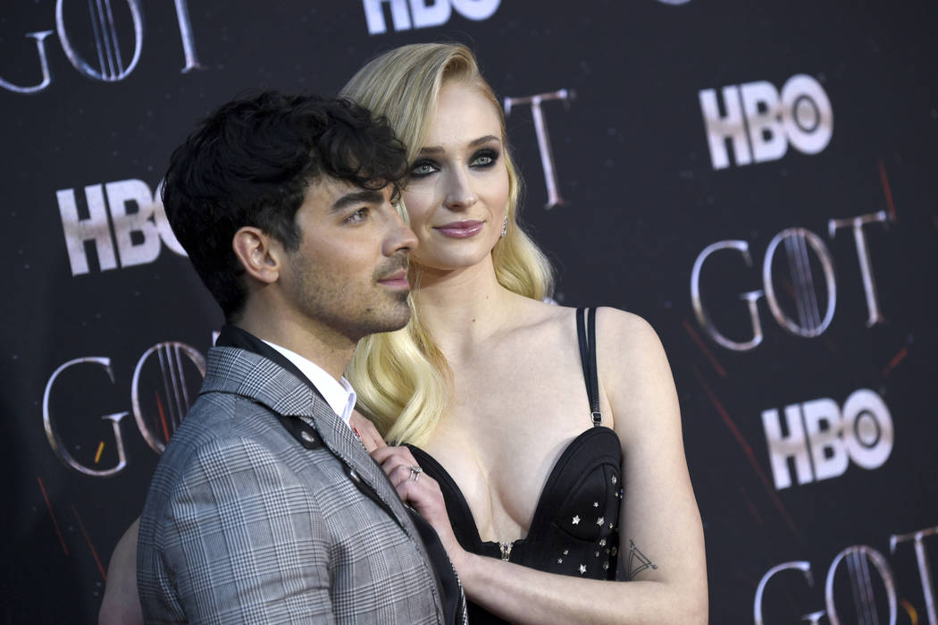 """In this April 3, 2019 file photo, Joe Jonas, left, and Sophie Turner attend HBO's """"Game of Thro ..."""