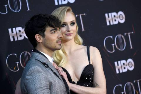 "In this April 3, 2019 file photo, Joe Jonas, left, and Sophie Turner attend HBO's ""Game of Thro ..."