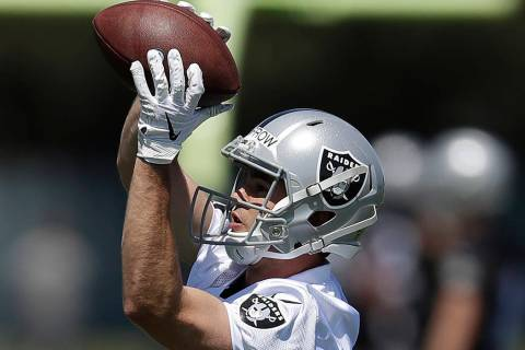 Oakland Raiders wide receiver Hunter Renfrow makes a reception during NFL football practice on ...