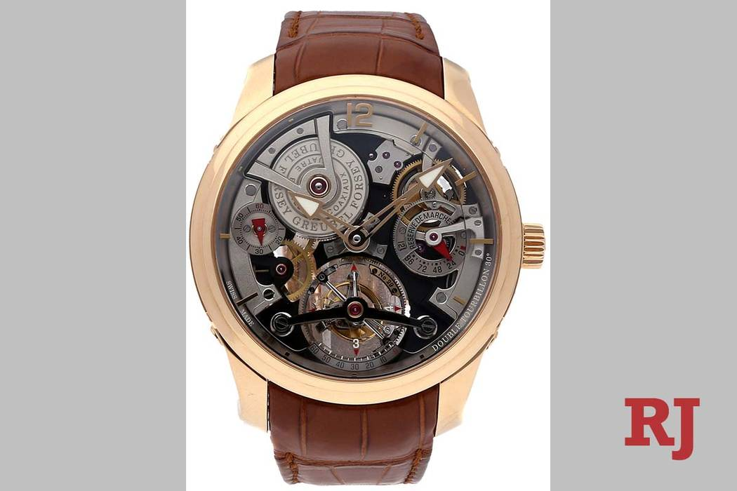 A Greubel Forsey model watch, similar to the one pictured, remains missing. (thewatchbox.com)