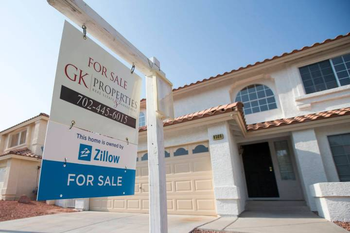 A house for sale at 8308 Cretan Blue Lane in Las Vegas is seen Friday, Aug. 10, 2018. (Richard ...
