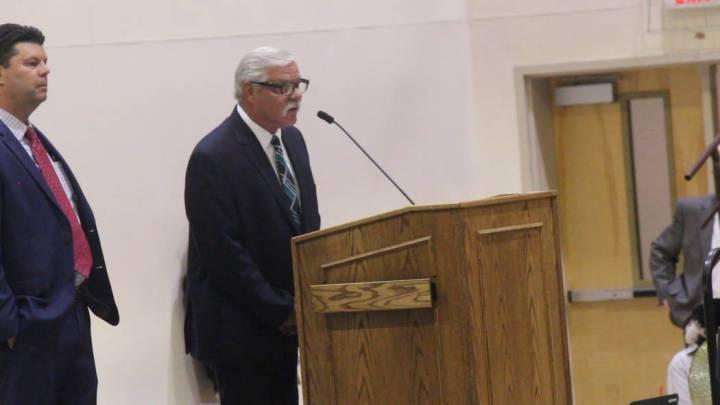 Ken Derschan, president of Valley Electric Association's board of directors, speaks during the ...