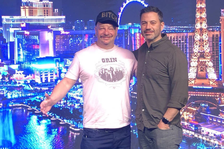 Jeff Ross and Jimmy Kimmel are shown at Kimmel's new comedy at Linq Promenade on Friday, May 3, ...