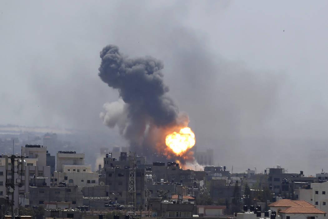 Israeli airstrike hits Gaza City, Saturday, May 4, 2019. Palestinian militants in the Gaza Stri ...