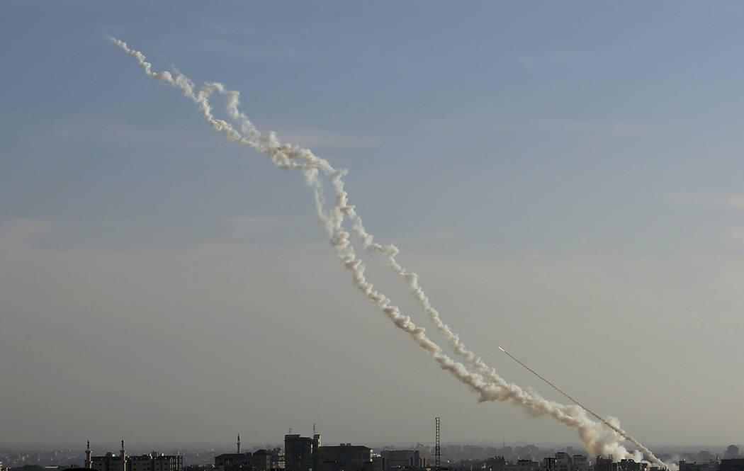 Palestinian rockets fire toward the Israeli areas from Gaza Strip, Saturday, May 4, 2019. Pales ...