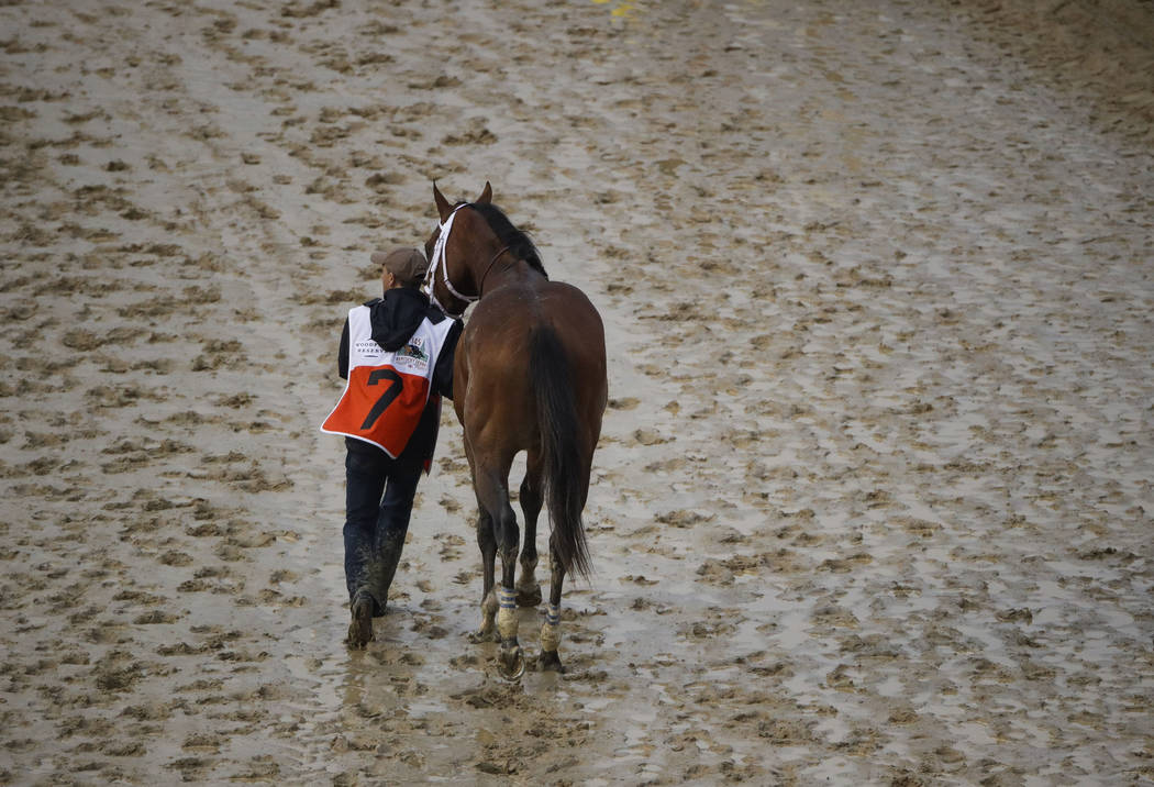 Maximum Security is walked off the track after being disqualified for the 145th running of the ...