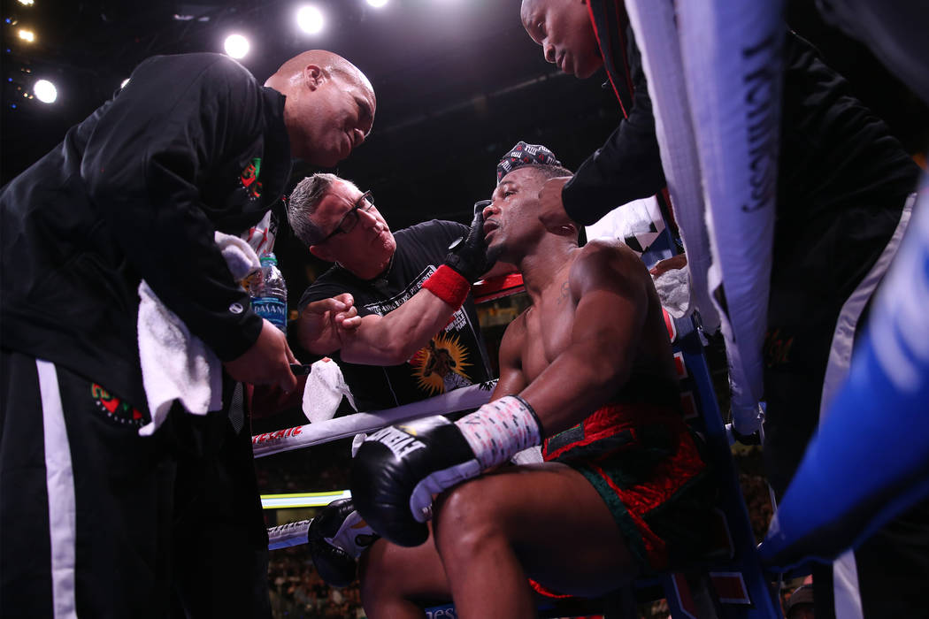 Daniel Jacobs sits in his corner before the 12th round against Saul Canelo Alvarez in the WBC, ...