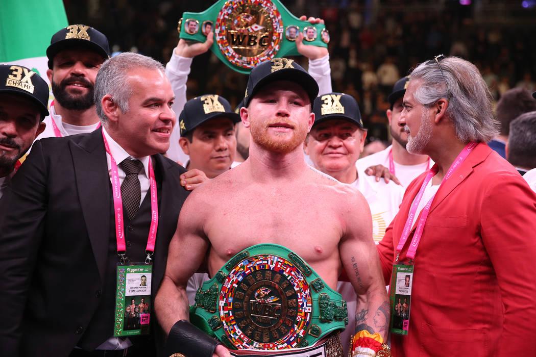 "Saul ""Canelo"" Alvarez, celebrates his win against Daniel Jacobs in the WBC, WBA, ..."