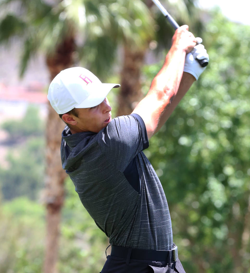 Faith Lutheran's Cannon Olkowski hits a drive during the Nevada State High School Regional Golf ...