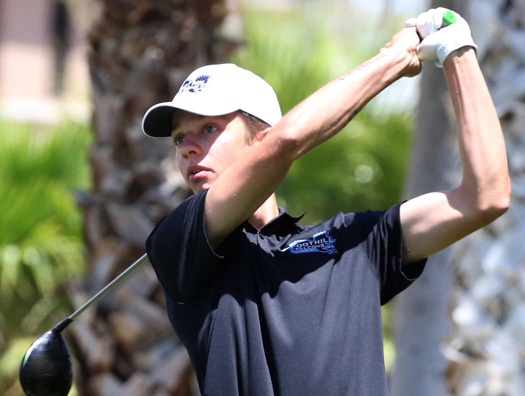 Foothill High's Trenton Tyler watches his drive during the Nevada State High School Regional Go ...