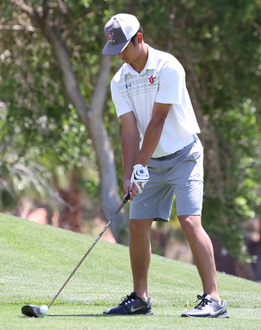 Arbor View High's Max Gowdey prepares to hit his drive during the Nevada State High School Regi ...