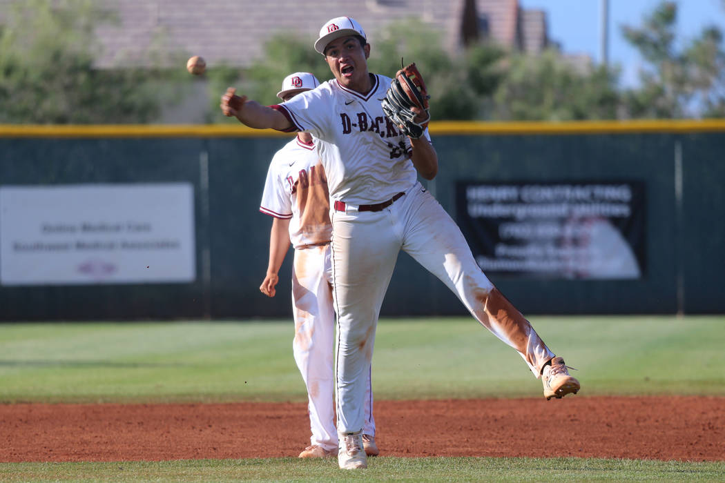 Desert Oasis' Aaron Roberts (25) throws to first base for an out and to end the game against Ba ...