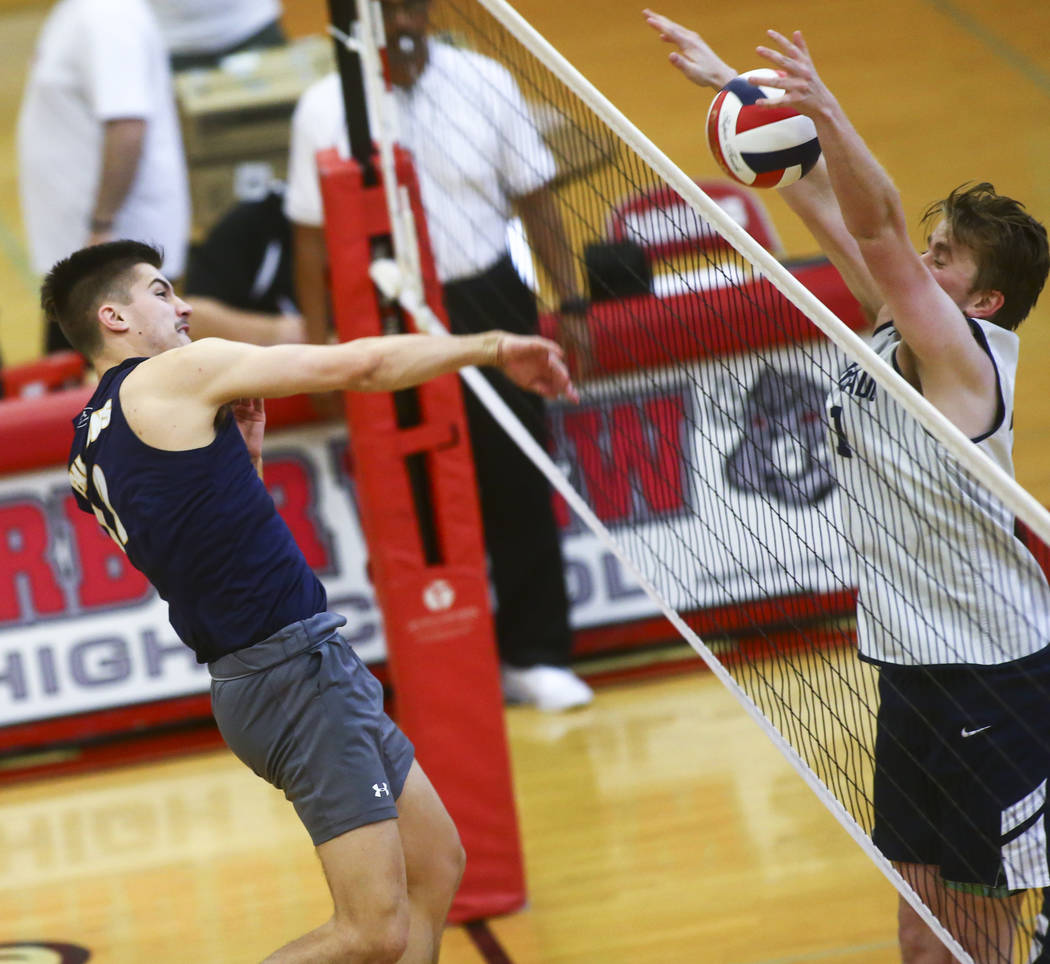 Coronado's Joseph Tyssee (11) blocks a shot from Foothill's Dylan Hushaw (12) during the Desert ...