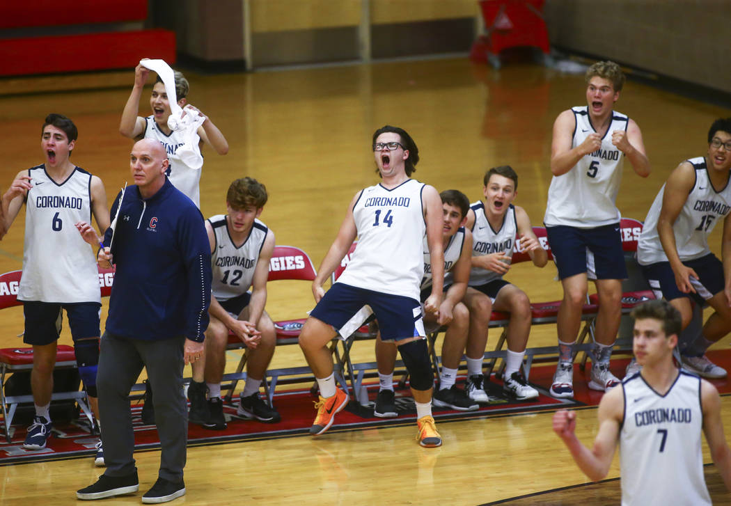 Coronado players, including Brian Wightman (14), celebrate after winning a set during the Deser ...