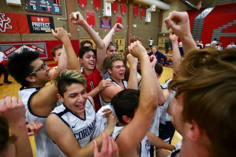 Coronado players celebrate their victory over Foothill in the Desert Region tournament champion ...