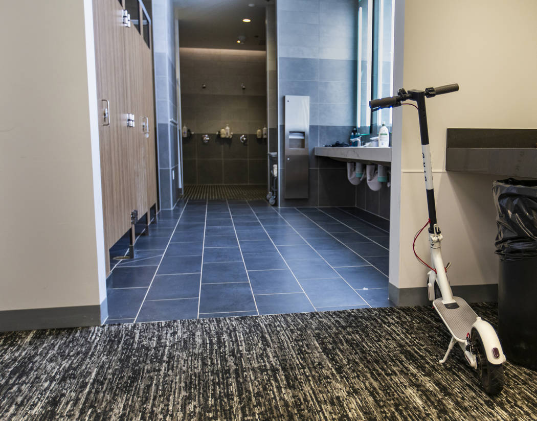 An electric scooter is parked in the Aviators clubhouse at the Las Vegas Ballpark, the room one ...