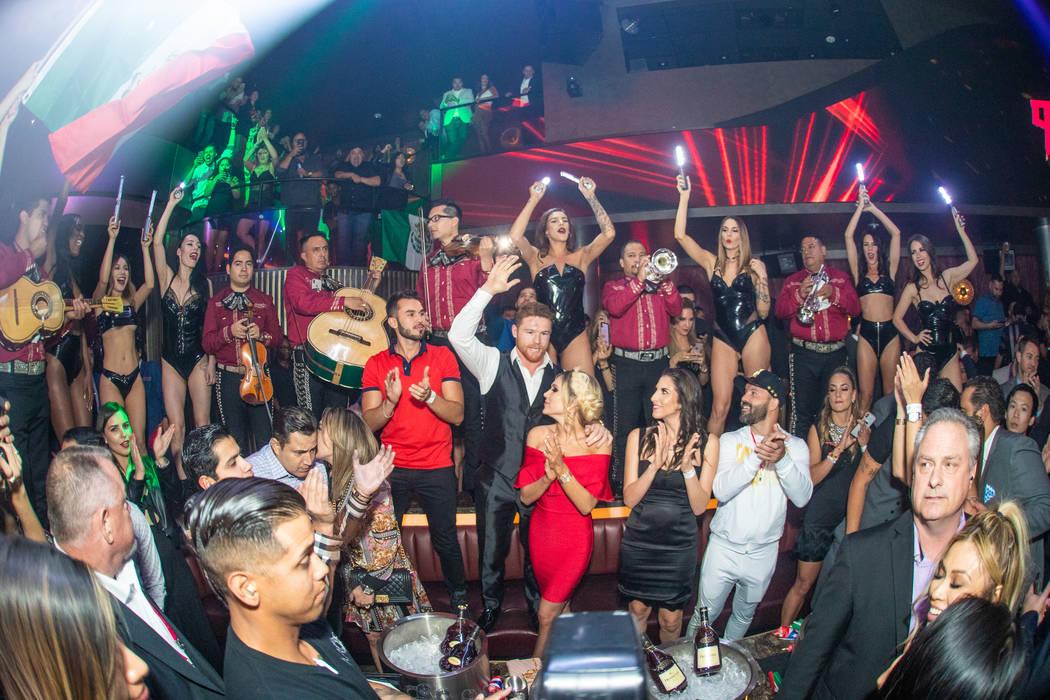 Canelo lvarez and Fernanda Gomez arrive at Canelo lvarez's after-party at KAOS Nightclub at the ...