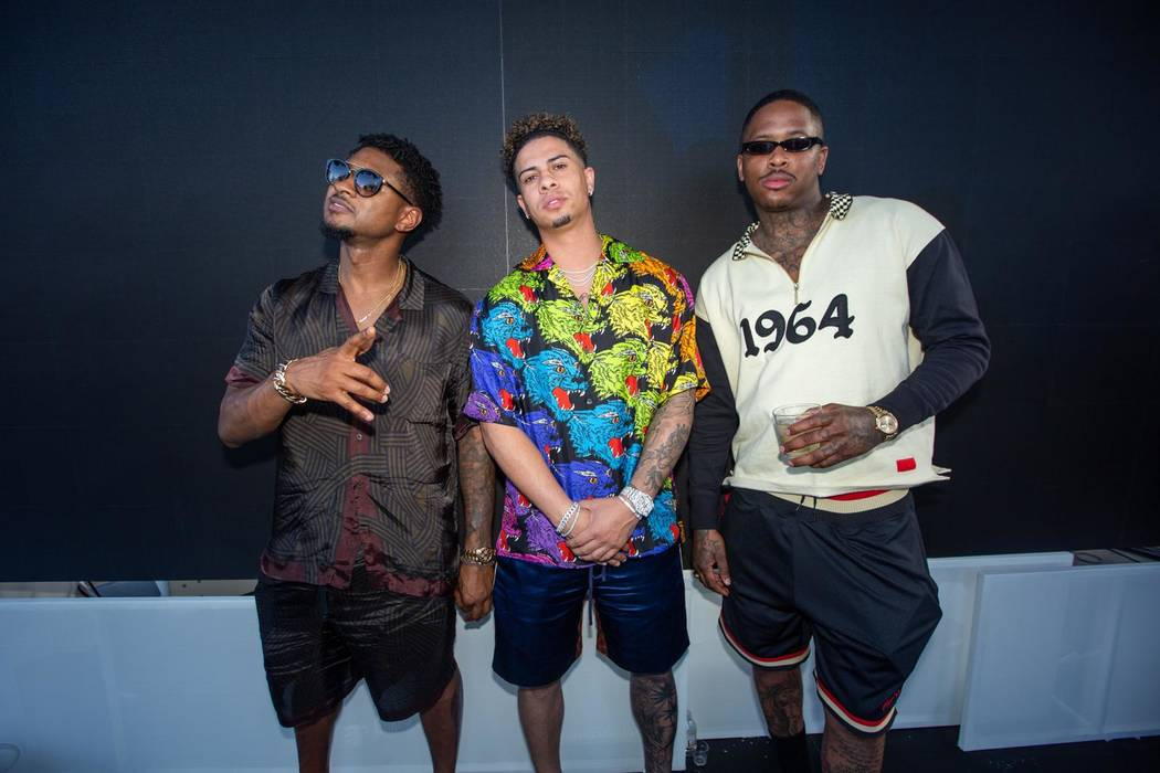 Usher, Austin McBroom, and YG are shown at Kaos Nightclub at the Palms on May 4, 2019 (Megan B ...