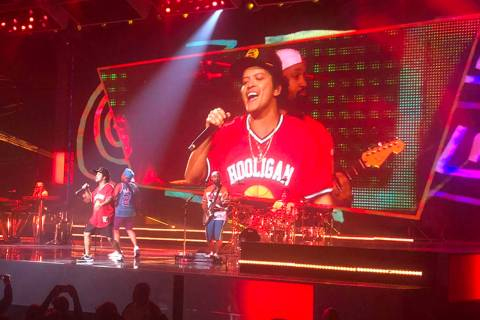 Bruno Mars performs on the Las Vegas Strip on Sunday, Dec. 30, 2018. (John Katsilometes/Las Veg ...